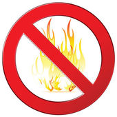 Forbidding vector signs no fire, no camping fire sign. Isolated on white. — Stock Vector