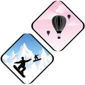 Snowboardowe skoki w wysokich górach i powietrze relaks ikony — Wektor stockowy