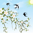 Flower branch with birds. — Stockvector