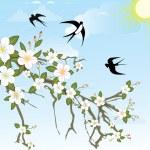 bloem tak met vogels — Stockvector