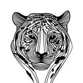 Tiger head silhouette, Vector — Stock Vector