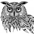 Owl bird head as halloween symbol for mascot or emblem design, s — Image vectorielle