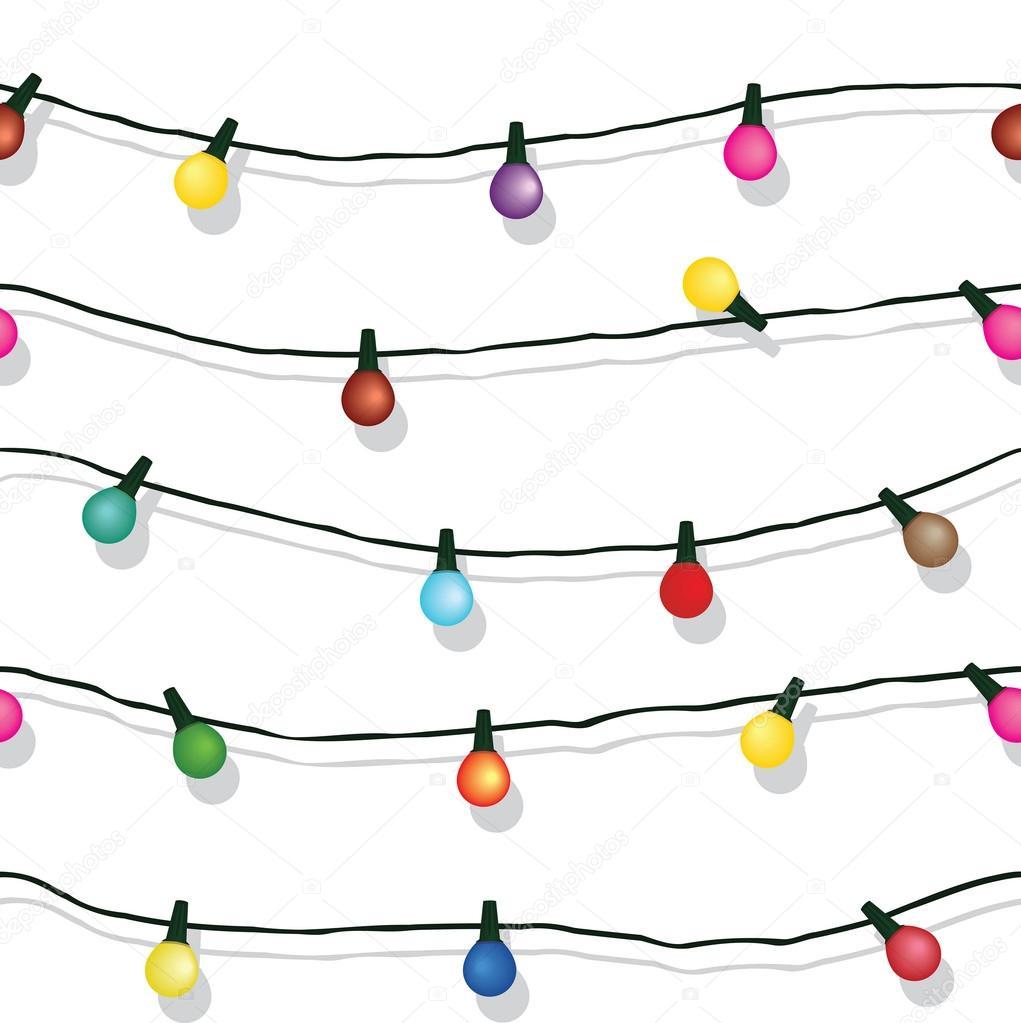 String Of Lights Illustration : Seamless string of Christmas lights isolated on white Stock Vector ? svetap #29693013