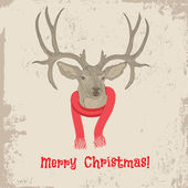 Deer head vintage Christmas card — Stock Vector