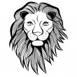 Lion head vector animal illustration for t-shirt. Sketch tattoo design. — Stok Vektör