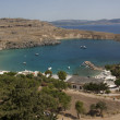 View from above of the main beach in Lindos — Stock Photo