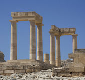 Ancient Acropolis in Rhodes. Lindos city. Greece — Stock Photo