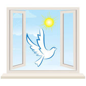Open window against a white wall and the cloudy sky. Vector — Stock Vector