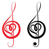 Heart of treble clef and bass clef — Stock Vector