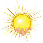 Sun in people hand vector illustration. — Stock Vector