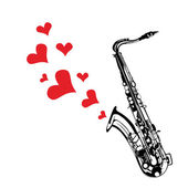 Music saxophone illustration playing a love song — Vecteur