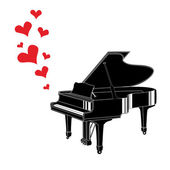 Heart love music piano — Stock Vector