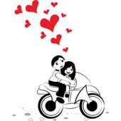 Man and woman in love on motorcycle — Vector de stock