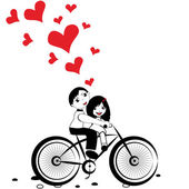 Man and woman in love on bicycle — Stock Vector