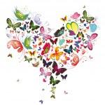 Butterfly heart, valentine illustration. Element for design — Vector de stock  #5406065