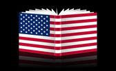 Open book-U.S. flag — Stock Photo