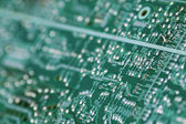 Circuit board with many component parts — Stockfoto