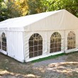 Stock Photo: White big tent in forest