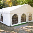 White big tent in forest - Stock Photo