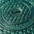 Stock Photo: Iron sewer cover as background