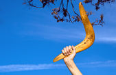 Boomerang in front of a blue sky — Foto Stock