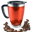 Red thermos with coffee beans - Zdjęcie stockowe