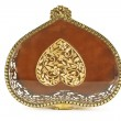 Lid of golden antique jewelry box - Stock Photo