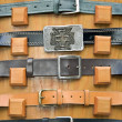 Collection of  belts  with metal  buckles — Stock Photo