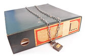 Old office folder with padlock and chain — ストック写真