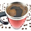 Red thermos with coffee drink and beans — Stock Photo #15471323