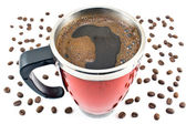 Red thermos with coffee drink and beans — Stock Photo
