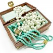 Wooden treasure chest with jewelry — Stok Fotoğraf #17656571