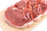 Rib eye steak meat on a cutting board — Stock Photo