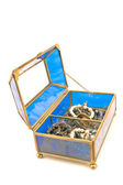 Blue glass jewelry box — Stock Photo
