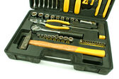 Set of various chrome yellow tools in box — Stock Photo