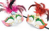 Two Carnival mask with feathers and diamond — Stock Photo