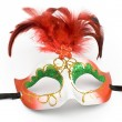 Carnival mask with feathers and diamond - Stock Photo