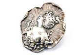 Antique silver brooch with woman's profile — Fotografia Stock