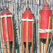 Three bamboo fire torch on cane fence - Foto Stock