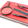 Notebook with drawing compass, ruler, pen and magnifier — ストック写真 #25871365