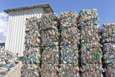 Stack of plastic bottles ready for recycling — Stock Photo