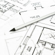 House plan blueprints with drawing pencil — Stock Photo
