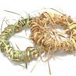 Wreaths made of straw isolated on white — Stock Photo