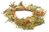 Wreath of dry herbs isolated on white background — Stock Photo