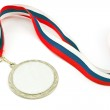 Silver medal with color stripes isolated on white — Stock Photo