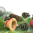 Pine cones, needles and Christmas balls on white background — Stock Photo