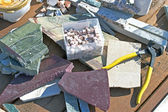 Marble and tile nipper for cutting mosaics into shapes — Stock Photo