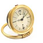 Vintage golden alarm clock isolated on white — Stock Photo
