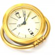 Stock Photo: Vintage golden alarm clock isolated on white