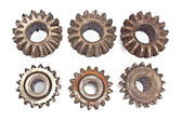 Old metal cogs isolated on white — Stock Photo